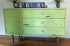 green antique looked buffet by LayTal on Etsy, $500.00