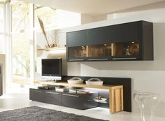 Contemporary Wall Storage Unit by Bellano in Wood and Matte Lacquer finishes/Opt LED
