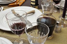 Match pewter carafe and Simon Pearce stemware...two of our favorite vendors!