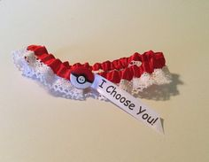 Pokemon wedding garter I Choose You by tablesandtemari on Etsy