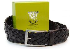 Flechtgürtel weich hochwertiges Rindleder DunkelBraun von designer Acciaio Alessandro | made in Italy