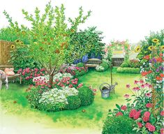 Blühendes Finale im Landhaus-Garten