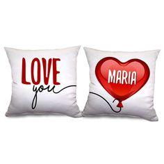 """Pack de cojines """"Globo de amor"""" para regalar en el día del amor y la amistad. Personalízado con el nombre que quieras y haz un, ¡hermoso detalle!"""