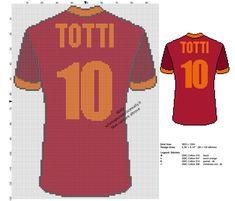 Maglia Totti numero 10 della Roma schema da ricamare punto a croce
