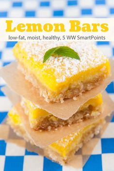 Light and luscious, these Weight Watchers low-fat lemon bars are a winner. More tart than sweet, each bar has just 113 calories and *5WW SmartPoints! #lowfatlemonbars #lemonbars #lemon #dessert