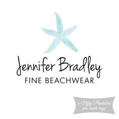 Premade Logo  Watercolor Starfish  Beach by NiftyPrintables