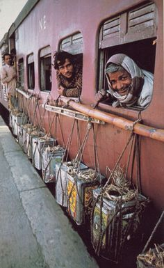 Milk run between Varanasi and Calcutta - National Geographic June 1984 Steve McCurry; lines!