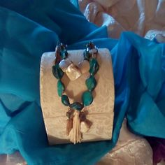 Splendid double strand necklace and earring set Beautiful turquoise and cream colored stones!!!!  Marvelous set...absolutely lovely!!!!! Jewelry Necklaces