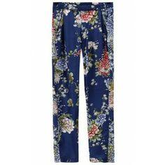 Blue Elastic Waist Chrysanthemum Print Pant