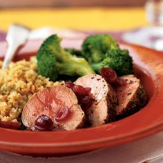 Roasted Pork Tenderloin Medallions with Dried Cranberry Sauce | MyRecipes.com #myplate #protein #fruit