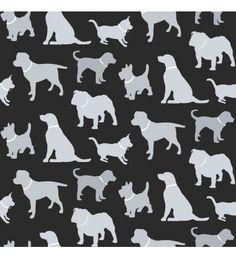 Papel pintado silueta de perros grises fondo negro - 40808