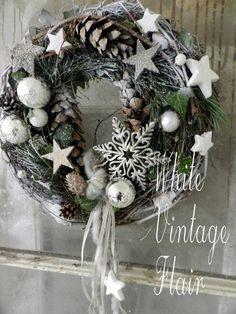 """Adventskranz - Weihnachtlicher Türkranz  """"Sterngestöber """" - ein Designerstück von whitevintageflair bei DaWanda"""
