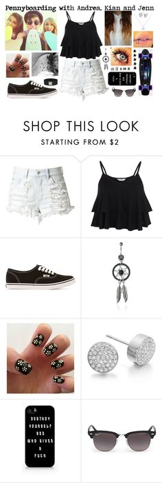 """""""Pennyboarding with Andrea, Kian and Jenn"""" by roxouu ❤ liked on Polyvore featuring Miss Selfridge, Vans, IDeeen, Chanel, Monica Vinader, Samsung, Ray-Ban and Wet Seal"""