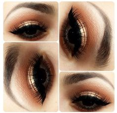 MAKEUP: I like the balance of gold + coral + heavy winged liquid liner + lashes