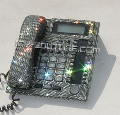 KHLOE & LAMAR, ICY Couture Crystal Home Office Phone made for Khloe Kardashian. Bling Your Desk Phone!