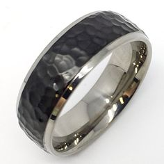 Men's 8mm Comfort Fit Titanium Wedding Ring with Black Hammered Center and Polished Beveled Edges (10) Titanium Hammered Ring http://www.amazon.com/dp/B00PBGB4G2/ref=cm_sw_r_pi_dp_plFzwb1TDJR1X