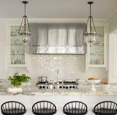 White kitchen, beautiful marble, light fixtures