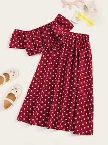 To find out about the Girls Polka Dot Ruffle Trim Bardot Top & Skirt Set at SHEIN, part of our latest Girls Two-piece Outfits ready to shop online today! Punk Rock Outfits, Cute Girl Outfits, Teen Fashion Outfits, Cute Casual Outfits, Kids Outfits, Batman Outfits, Formal Outfits, Emo Outfits, Pop Punk Fashion