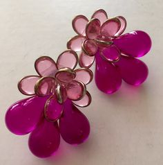 WOW! Statement pink lucite earrings big, bold, beautiful for the girl who likes to stand out from GiosGems on etsy.