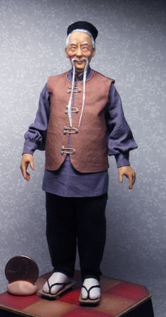 Old Chinese man by Sharon Cariola. This will be going into an Asian Antique shop being made by Pablo Leal of Amatheria on Etsy.