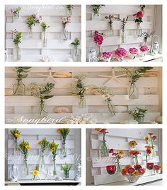 primitive decorating ideas with wooden pallets | pallet wood mantel decoration with flowers
