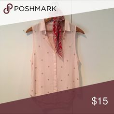 Abercrombie Studded Sleeveless Button-up This beautiful light pink button-up by Abercrombie features gold studs in the shape of diamonds throughout the front of this somewhat sheer blouse! Abercrombie & Fitch Tops Button Down Shirts