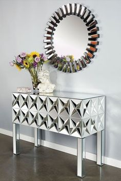 Spike Mirrored Console Table - Silver