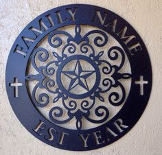 """This is our~Tuscan Texan-Family Wall Badge. 18""""- cut from 11ga steel-(.115)-right at an 1/8"""" thick.with a hanger welded on the back. As shown here in Textured Black-powder coat, other colors availible such as the popular Coppervein-powder coat. $99.00 plus tax and shipping. Also can be ordered in 16""""-12ga (.094 thickness)- for $65.00 plus tax and shipping~JDH Iron Designs     www.starsovertexas.com                      email me: jimmydon@starsovertexas.com   or call or text  254 749 2925"""