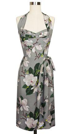 The Trashy Diva Lena Sarong Halter Dress in Steel Magnolias is flattering and feminine!