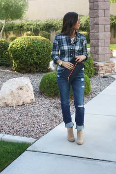 plaid, jeans, booties, statement necklace