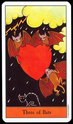 Three of Bats (Swords) Halloween Tarot by Kipling West, published by U. Games Systems, Inc Halloween Bats, Vintage Halloween, Halloween Decorations, Vampires, Cartomancy, Oracle Cards, Tarot Decks, Occult, Dark Art