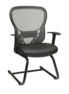Space Seating® Deluxe SpaceGrid Back Visitors Chair With Fixed Arms And  Molded Foam Bonded Leather Seat, Nylon Metal Sled Base