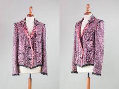 lanvin jacket boucle / vintage squares jacket made in france / french vintage cotton blazer size S by MyLoftVintage on Etsy
