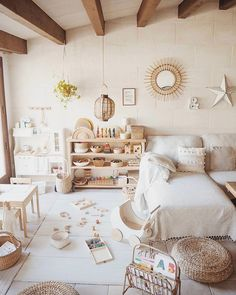 Olli Ella luggy wheeled rattan basket for kids in this fun and neutral kids playroom. Playroom Design, Kids Room Design, Playroom Ideas, Playroom Colors, Playroom Rug, Playroom Storage, Deco Kids, Room Interior Design, Modern Interior
