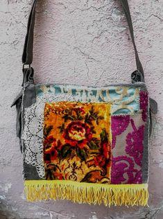 Boho style Messenger Bag with Velvet Applique Crossbody Bag | Etsy Canvas Messenger Bag, Fabric Remnants, Flower Applique, Vintage Velvet, Fringe Trim, Little Bag, Boho Style, Boho Fashion, Crossbody Bag