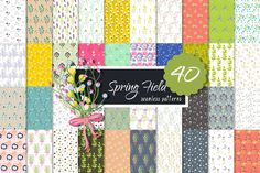 Retro Spring Field Seamless Patterns by Yopixart on @creativework247