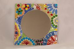 vintage hand made glass mosaic mirror by ColoreMosaics on Etsy