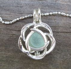 Aqua Sea Glass  Flower Necklace Locket Frosted Pale by WaveofLife, $19.00