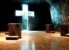 The Salt Cathedral of Zipaquirá is an underground Roman Catholic church built within the tunnels of a salt mine 200 meters underground in a Halite mountain near the town of Zipaquirá, in Cundinamarca, Colombia. Roman Catholic, Cathedral, Tours, Building, Places, Holiday, Mountain, Random, Design