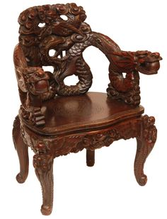 CHINESE CARVED WOODEN DRAGONS CHAIR