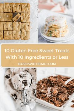 10 Gluten free and mostly vegan sweet dessert recipes with 10 ingredients or less. The perfect guide to gluten free baking during quarantine. Made with simple ingredients that you probably already have in your pantry. Quick and easy baking! Protein Chocolate Chip Cookies, Chocolate Chip Granola Bars, Vegan Rice Krispie Treats, Vegan Key Lime Pie, Recipe With 10 Ingredients, Sweet Breakfast, Breakfast Ideas, Waffle Recipes, Bread Recipes