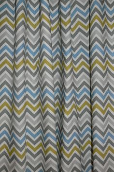 """Two Custom Drapes 50"""" Wide by up to 84"""" Long each,  Gray, Green and Blue Chevron Curtain Panels. $108.00, via Etsy."""