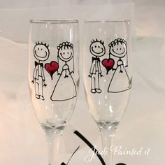 Bride and Groom Wedding toasting flutes in a stick figure design - Set of FREE personalization, hand painted and dishwasher safe Bridesmaid Wine Glasses, Wedding Wine Glasses, Wedding Flutes, Hand Painted Wine Glasses, Toasting Flutes, Wedding Toasts, Beer Mugs, Iced Tea Glasses, Stick Figures