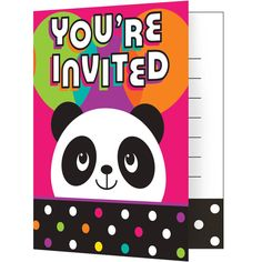 One package of 8 Panda Party Invitations. Each Invitation has lines inside For, When, Where, Time, and RSVP. 8 white envelopes are also included. Each invitation measures 3 inches X 5 inches. Panda Themed Party, Panda Birthday Party, Girls Birthday Party Themes, Panda Party, Bear Birthday, Birthday Party Invitations, Birthday Celebration, Invites, 9th Birthday