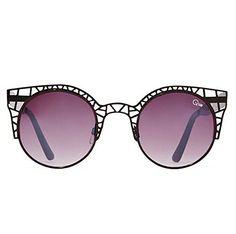 51a8368ceadef Quay Fleur Sunglasses Cat Eye Metallic Geometric Cutout Frame (Black)