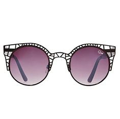 Quay Fleur Sunglasses Cat Eye Metallic Geometric Cutout Frame (Black)