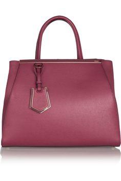 Fendi|2 Jours textured-leather shopper|NET-A-PORTER.COM