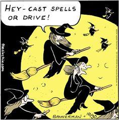Don't talk and fly.for 2014 comics Halloween Cartoons, Halloween Art, Holidays Halloween, Happy Halloween, Halloween Humor, Halloween Goodies, Halloween Stuff, Laugh Cartoon, Cartoon Jokes