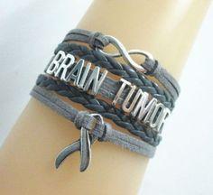 Brain Tumor Infinity/Hope/Gray & Black Awareness Ribbon Charms Leather Braided Bracelet