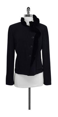 St. John Black Knit Velvet Jacket